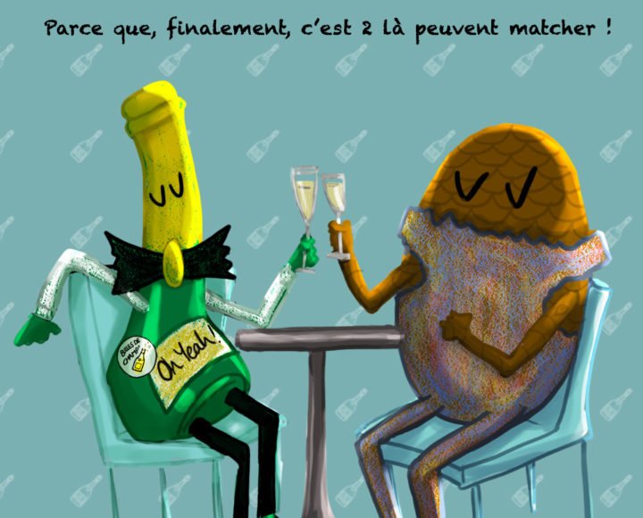 Champagne et Chocolat - Illustration Émilie